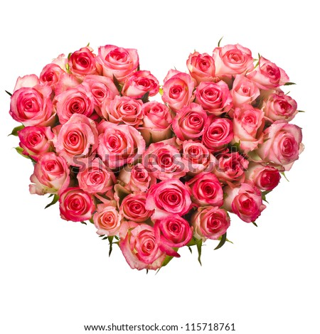 Heart shaped bouquet of pink roses isolated over white background - stock photo