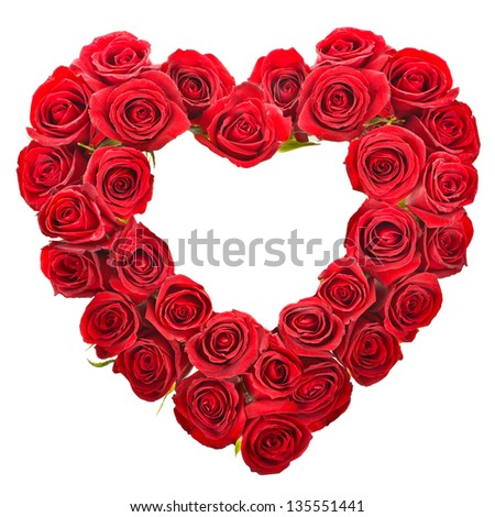 Heart shaped bouquet of red roses isolated over white background - stock photo