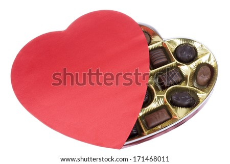 Heart Shaped Box of Valentine Candy with a Background Clipping Path - stock photo