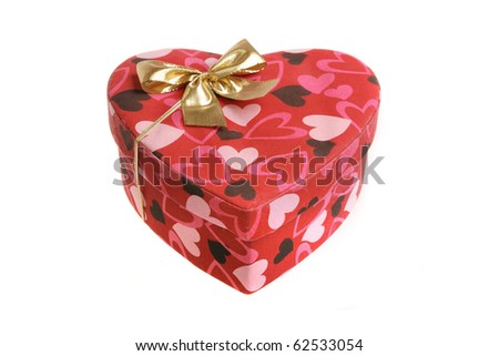 heart shaped box with bow (isolated on white)