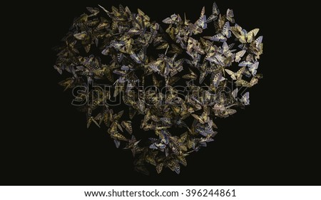 Heart shaped butterfly flight, yellow and black butterflies  - stock photo