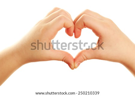 Heart shaped by child hands isolated on white