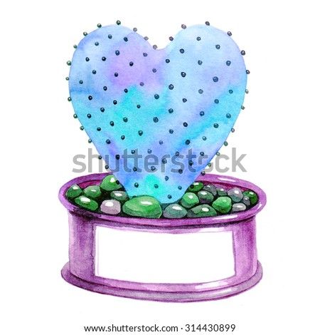 Heart-shaped cactus and space for your text. Watercolor illustration.