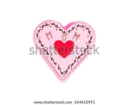 Heart shaped cake for mother's day with text, isolated on white - stock photo