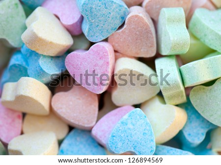 heart-shaped candies - stock photo