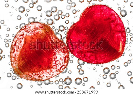 Heart-shaped candies with bubble - stock photo