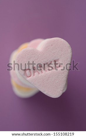 "Heart shaped candy with ""Danke"""