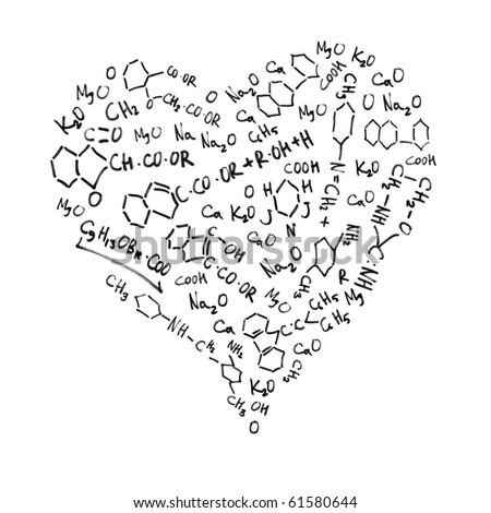 Chemistry Love Equations Heart shaped chemical formulas