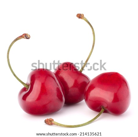 Heart shaped cherry berries isolated on white background cutout - stock photo