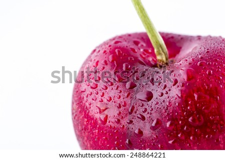 Heart shaped cherry isolated on white background cutout - stock photo