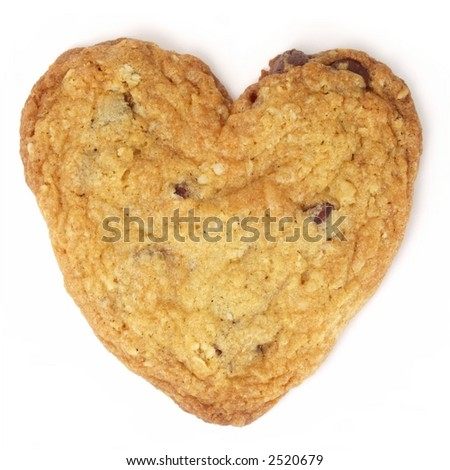Heart-shaped chocolate chip cookie isolated on white background. - stock photo