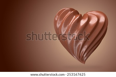 heart shaped chocolate cream, on a gradient background to advertise - stock photo