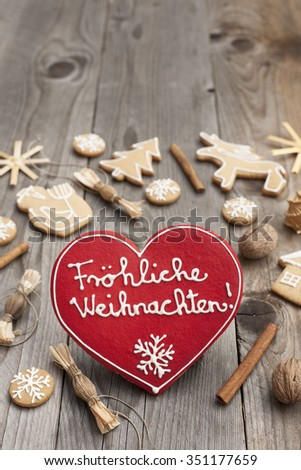 Heart shaped Christmas Gingerbread written in German