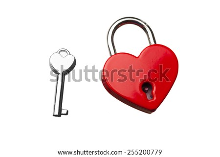 heart shaped closed lock with key, isolated on white - stock photo