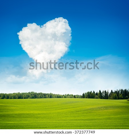 Heart Shaped Cloud and Green Field Landscape - stock photo