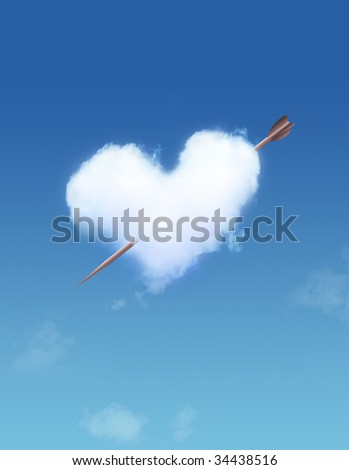 Heart Shaped Cloud on Blue Sky and arrow