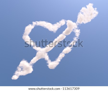 Heart shaped cloud with arrow, isolated on blue background