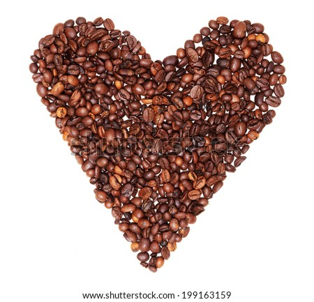 Heart shaped coffee beans
