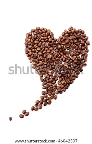 Heart shaped coffee beans isolated on white