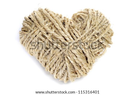 heart-shaped coil of rope on a white background