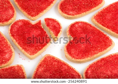 heart shaped cookies, broken heart, Valentine's Day, close up, isolated, horizontal. - stock photo