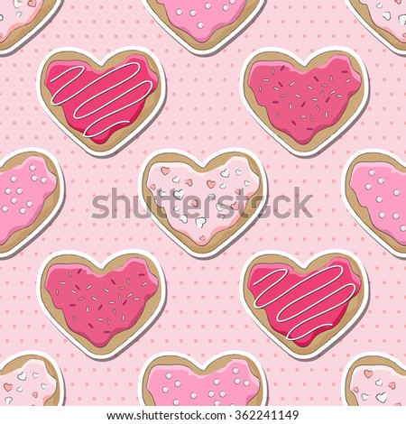 Heart shaped cookies, decorated for Valentine's Day, over a pink polka dot seamless background.  - stock photo