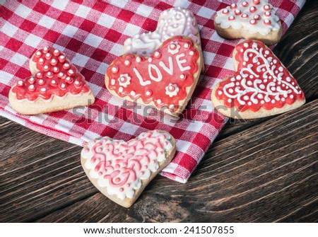 heart-shaped cookies for the holiday Valentine's day - stock photo