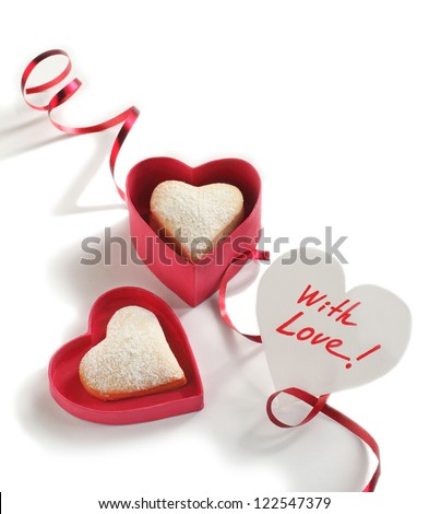Heart shaped cookies for valentine's day and Card with Message With Love - stock photo