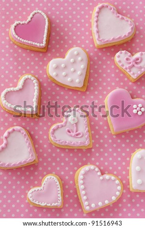 Heart shaped cookies for valentines day - stock photo
