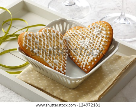 Heart shaped cookies on a tray