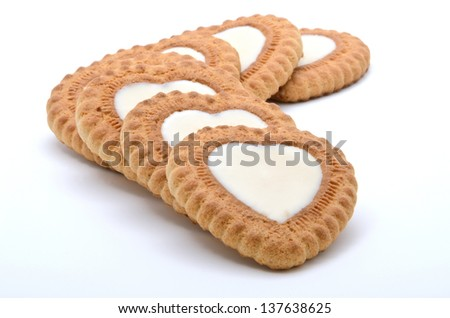 Heart-shaped cookies on a white background