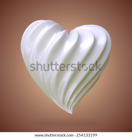 heart shaped cream, on a gradient background - stock photo