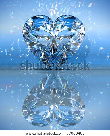 Heart shaped diamond over blue with reflection. Extralarge resolution. Other gems are in my portfolio. - stock photo