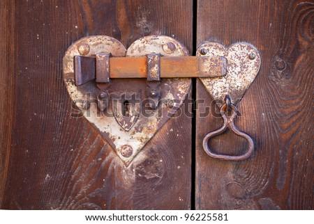 heart shaped door lock - stock photo