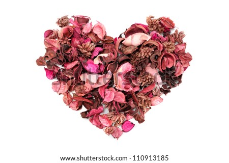 heart shaped dry aromatic flowers isolate on white - stock photo
