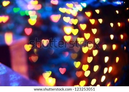 Heart shaped Festive lights. Can be used as background - stock photo