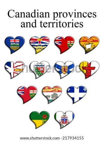 heart shaped flags of the Canadian provinces and territories - stock photo