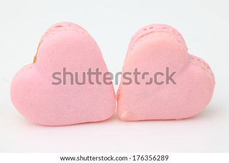 heart shaped French macaroons .Dessert - stock photo