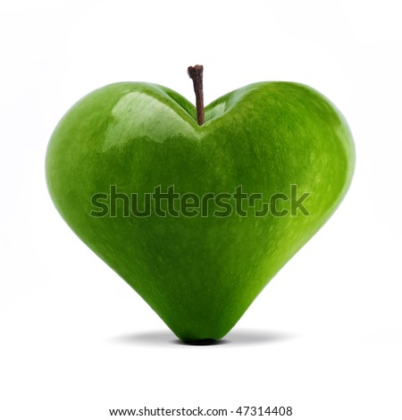 heart shaped fresh green apple over white - stock photo