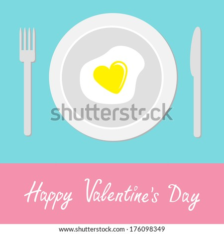 Heart-shaped fried egg .Happy Valentines Day card.  Rasterized copy - stock photo