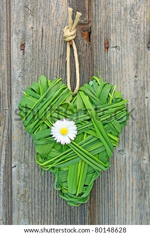 heart shaped from green grass hanging against a wooden wall - stock photo