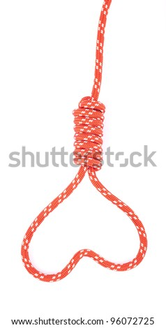 heart shaped from loop noose of rope - stock photo