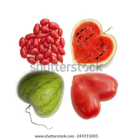 Heart-shaped fruits - stock photo