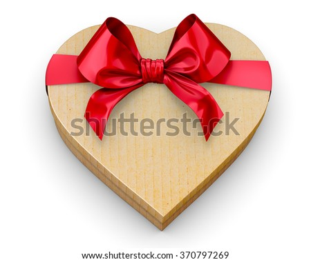 Heart shaped gift cardboard box  valentines day 3d render - stock photo