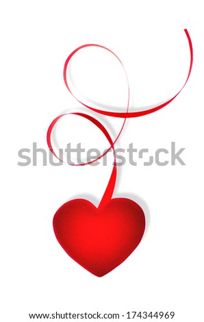 Heart shaped gift tag with red ribbon isolated on white (with path). Sharp focus on the gift tag and ribbon gradually blurred with distance - stock photo