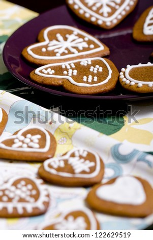 Heart shaped gingerbread cookie - stock photo
