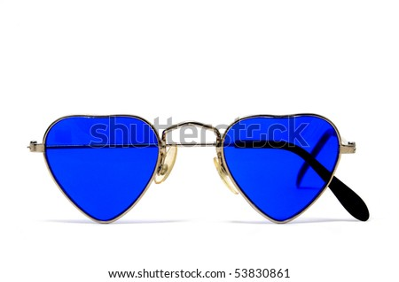 heart shaped glasses isolated on a white background