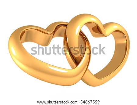 Heart shaped gold rings on white background - stock photo