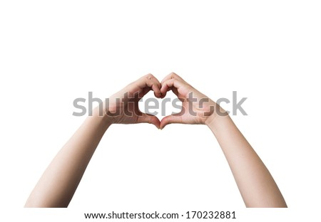 Heart shaped hand symbol isolated on white background. - stock photo