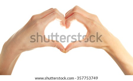 Heart shaped human hands isolated on white background